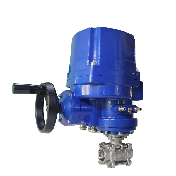Tekanan Tinggi 3 Pcs Explosion Proof Electric Actuator Ball Valve