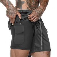 Custom Double Layer Mesh Sport Men Shorts Five Length Breathable Sports Wear Black Shorts Men