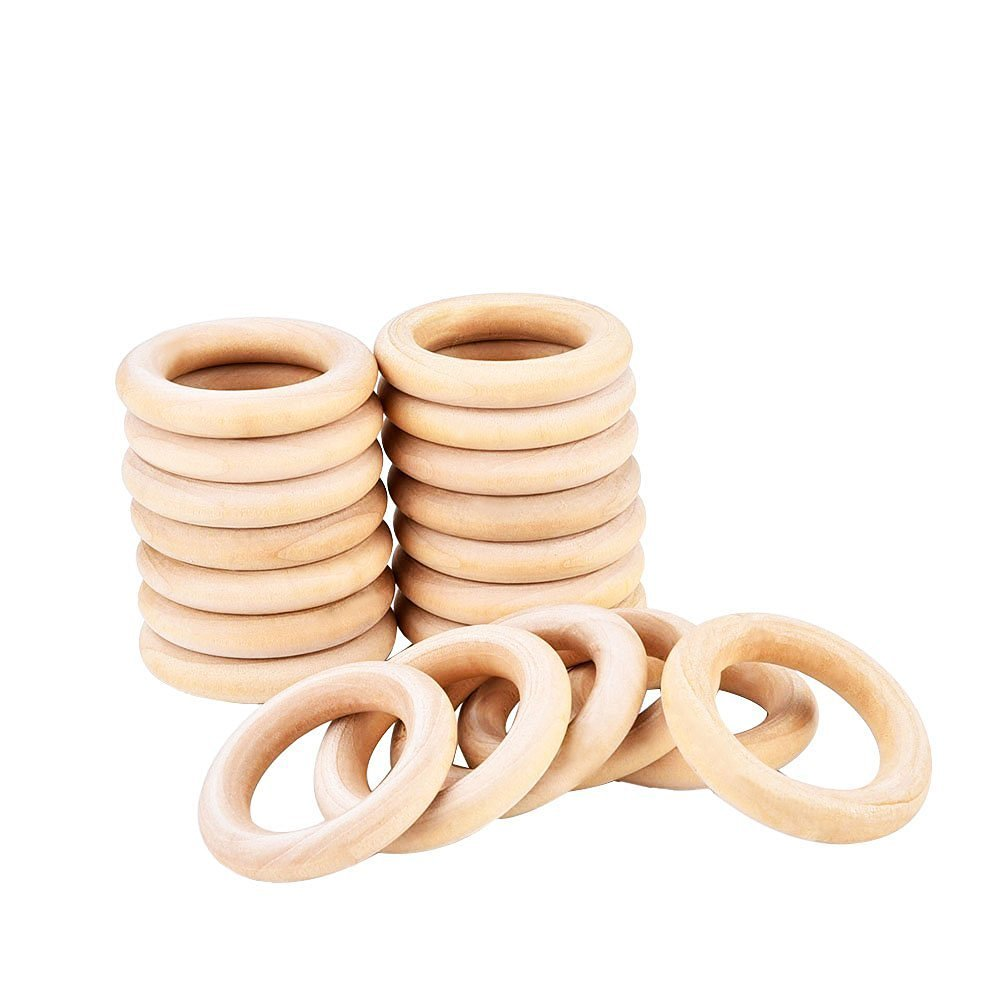 eBoot 20 Pack Wood Rings Wooden Rings for Craft, Ring Pendant and Connectors Jewelry Making (55 mm)