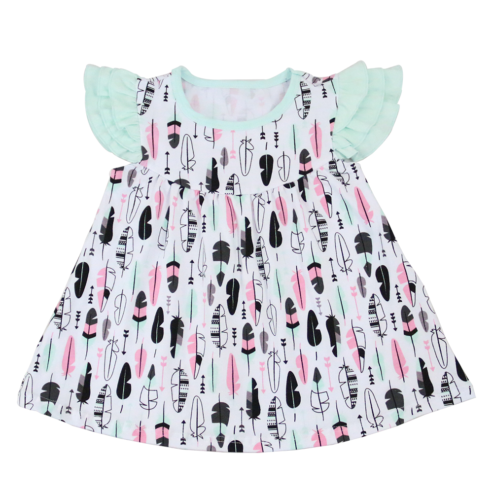 Printing Feather Fashion Design Spring Children Clothes Girls Dress Suits Boutique Little Girls Ruffle Sleeve Dress