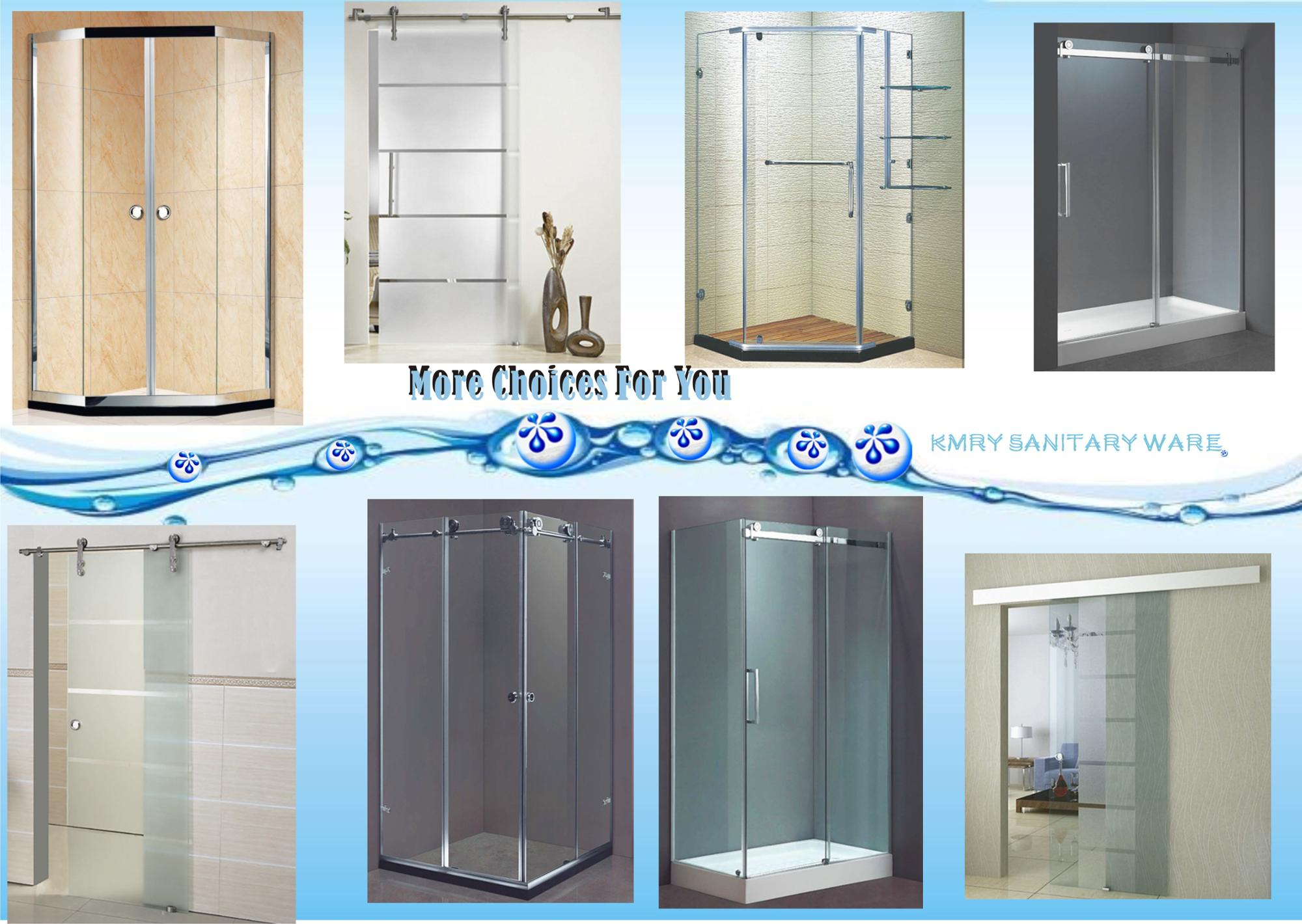 6MM Tempered Glass Aluminum Frame Folding Shower Screen Retractable Shower Screen (KD3207)
