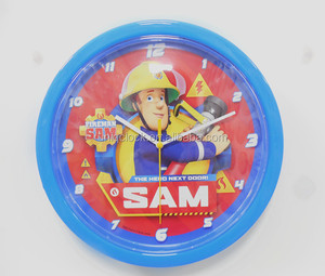 10 inch Fireman Sam Cartoon characters Plastic Wall Clock with battery cover for child gift