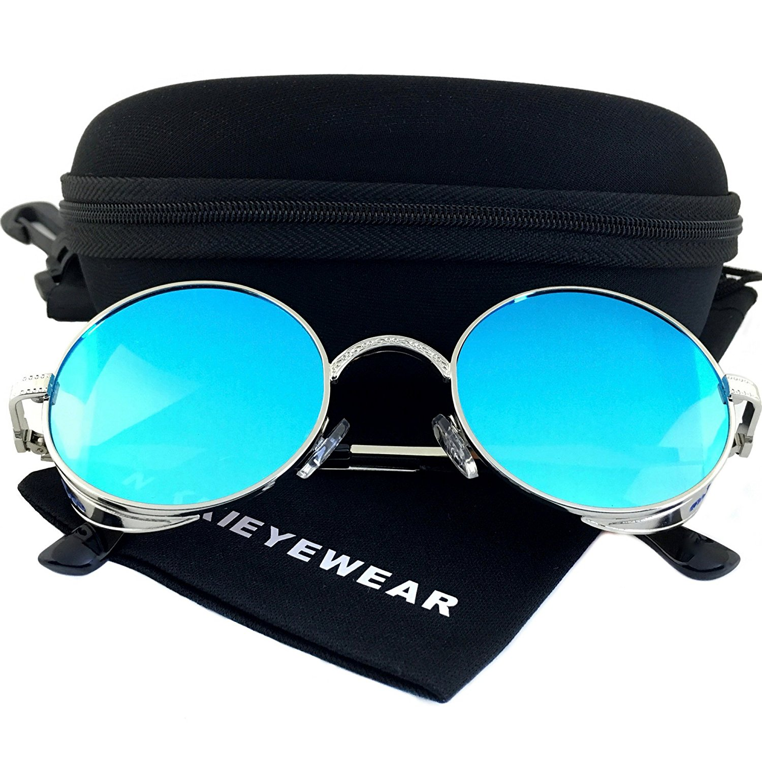 36c83e50e15 Get Quotations · NIKKIEYEWEAR - Gothic Steampunk Round Sunglasses Embossed  Side Shields