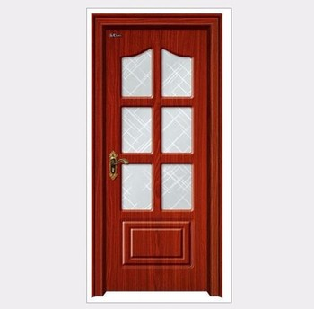 Bright Red Color Kitchen Half Glass Wooden Door And Carved Buy