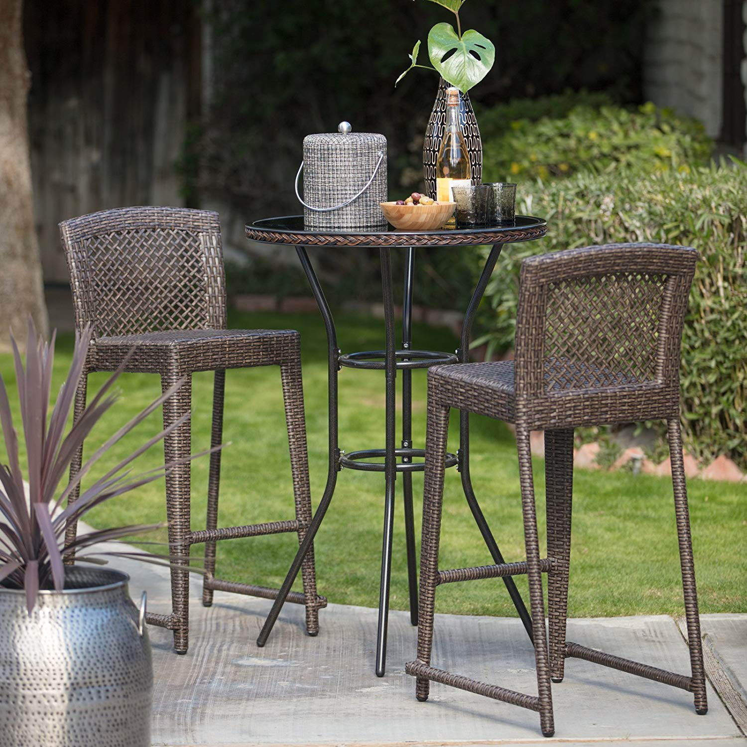 Outdoor Bistro Bar Set, Round Table Top And 2 Stools, All-Weather Wicker And Durable Steel Frame Construction, UV And Water Resistant, Suitable For Garden, Pool Area, Patio Furniture + Expert Guide