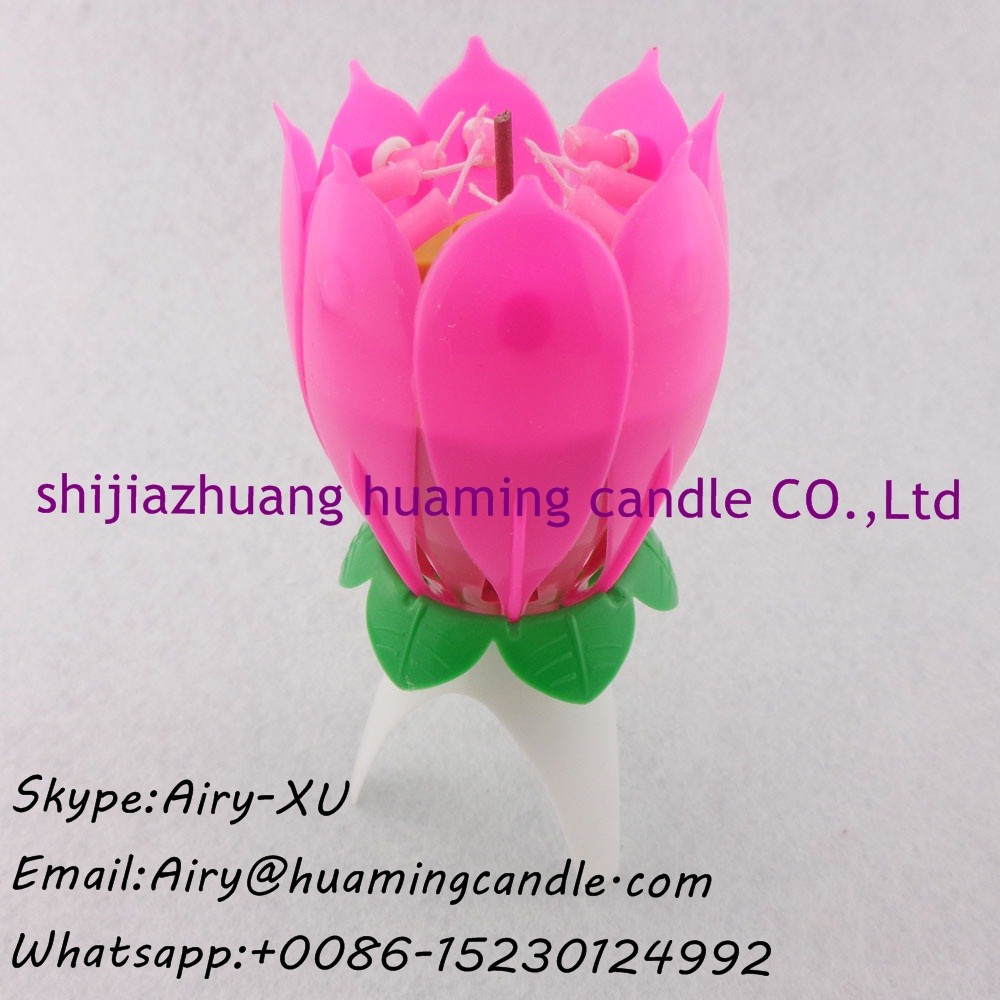 Red Rotating Musical Lotus Flower Candle Wholesale Home Suppliers