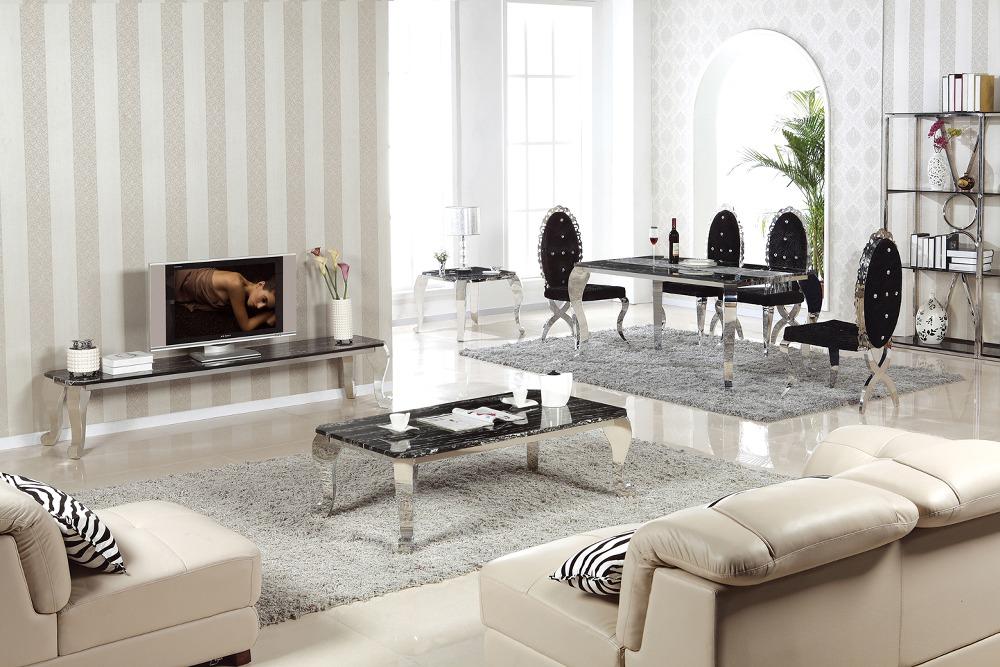 Cuadrados de acero inoxidable mesa de comedor de mármol de diseño ...