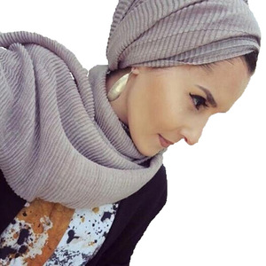 Custom Spring Summer New style wrinkle hijab cotton and linen women hijab