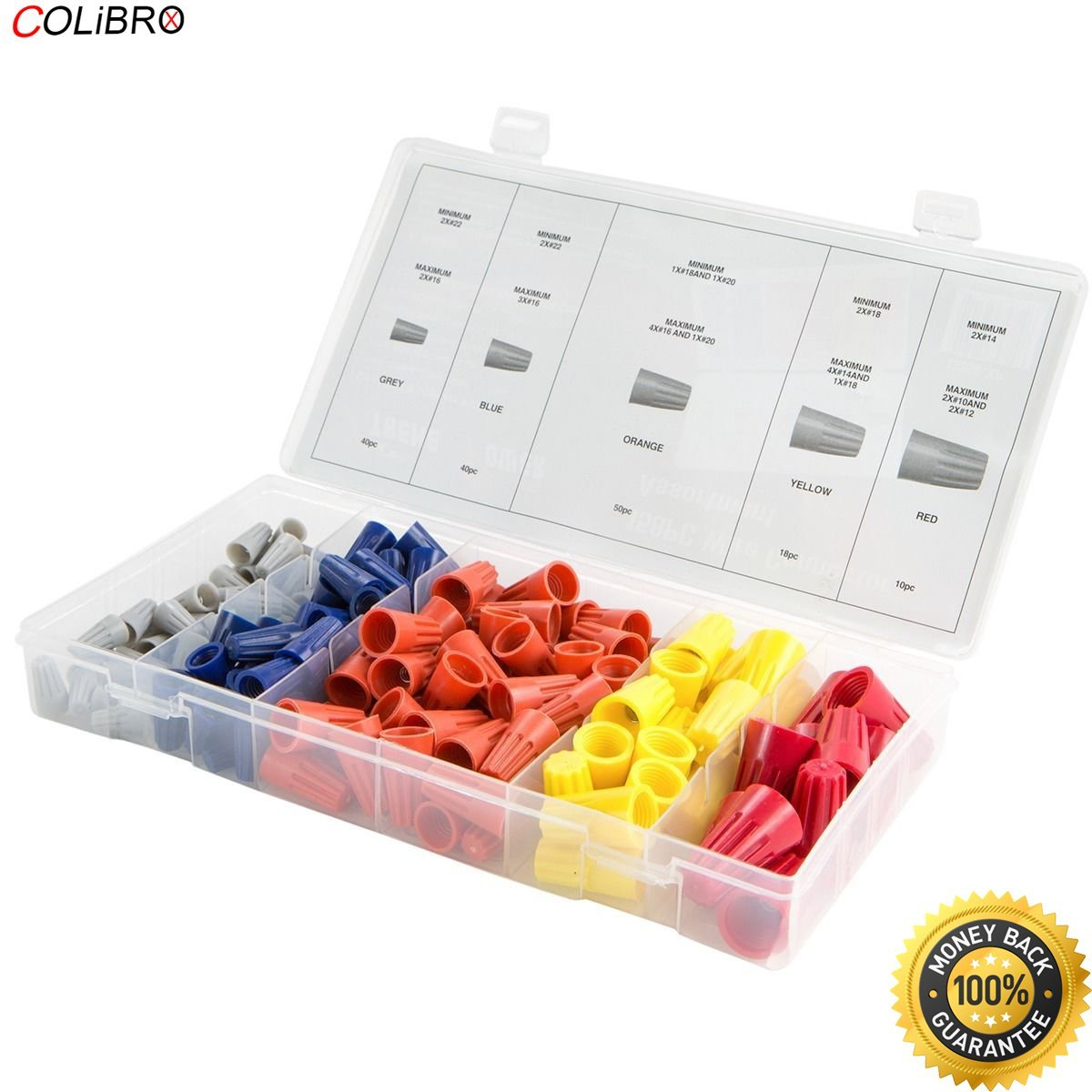 COLIBROX--New 158pc Electrical Wire Connector Cap w/ Spring Insert Assortment Electrical Wire Twist Connectors Nut Terminals Cap Spring Insert Assortment Electrical Wire Twist Nut