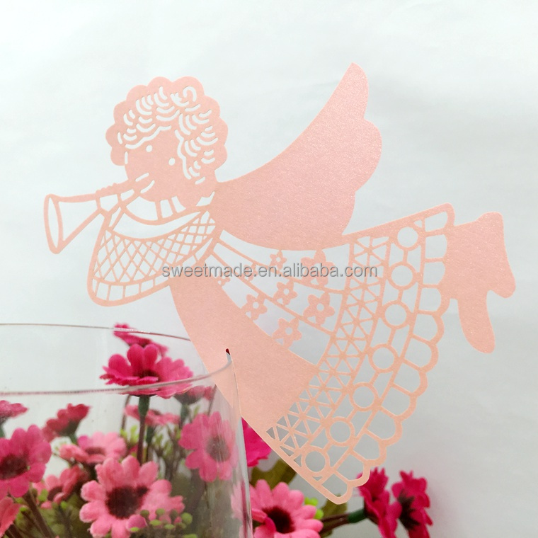 Hot sale Angel blowing horn Laser Cut Paper Cup Card / Wine Glass Card For baby shower party