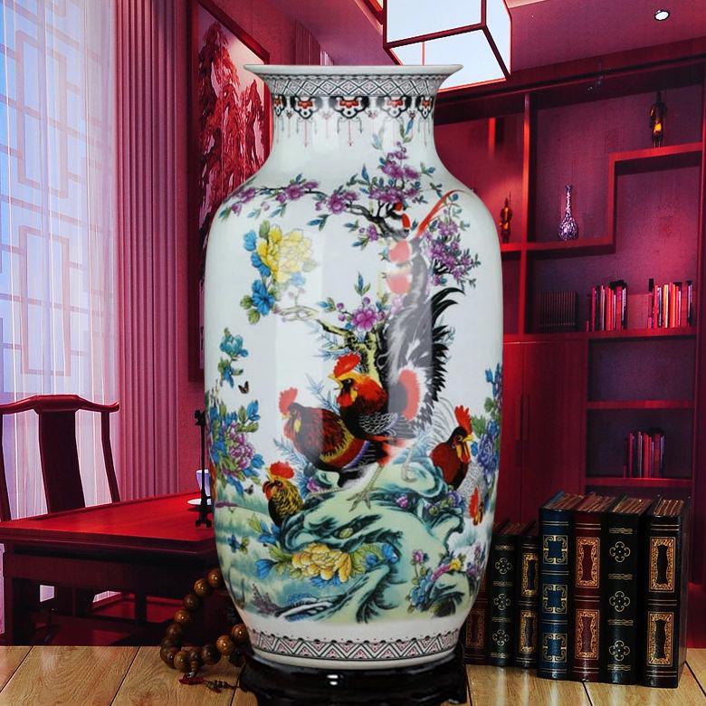 Ceramics Chinese famille rose landing large vase Home Furnishing living room decor decoration bottle gourd Rooster