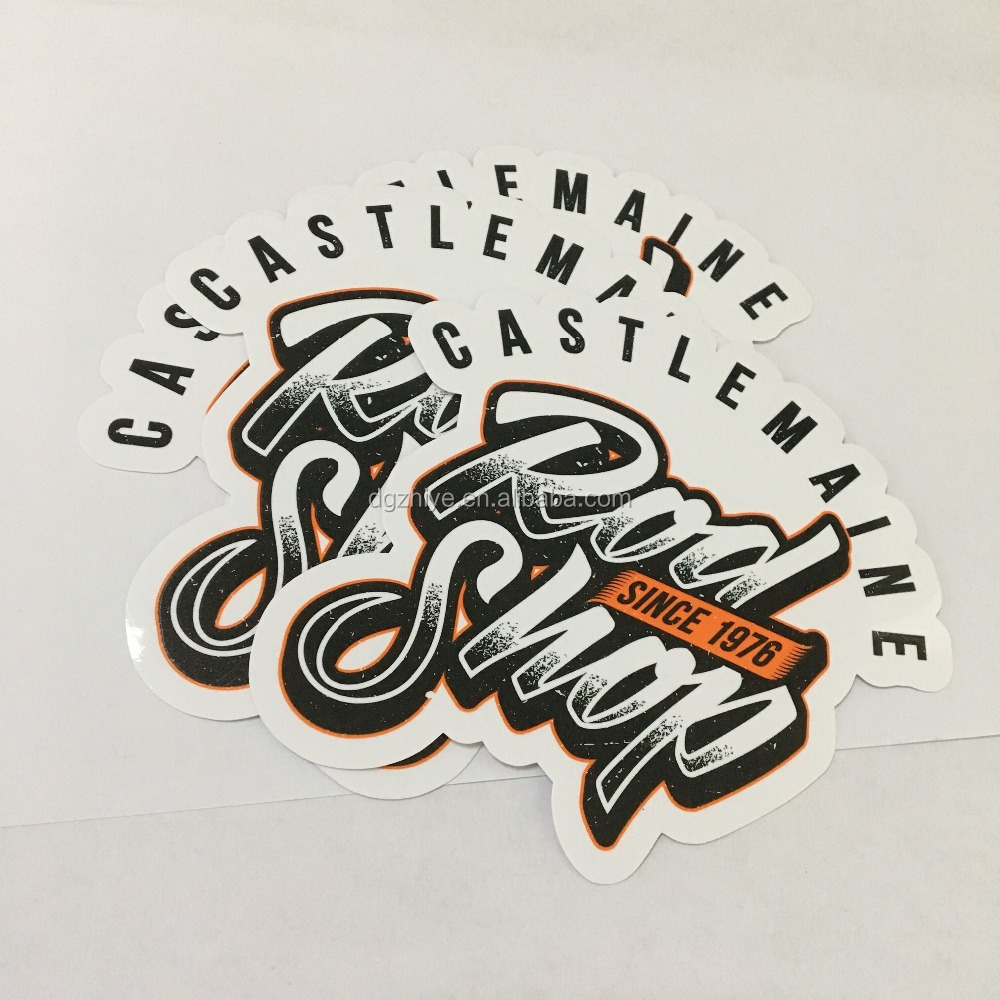 Custom Printed Die Cut Adhesive glossy finished LOGO Sticker, individual sheet promotional sticker printing Manufacturer