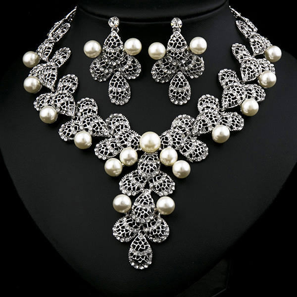 Cheap Pearl Necklace Sets: Wholesale-Wedding-Jewelry-Set-Pearl-jewelry-set-necklace