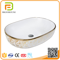 Bathroom Sanitaryware Ceramic Wash Golden Sink