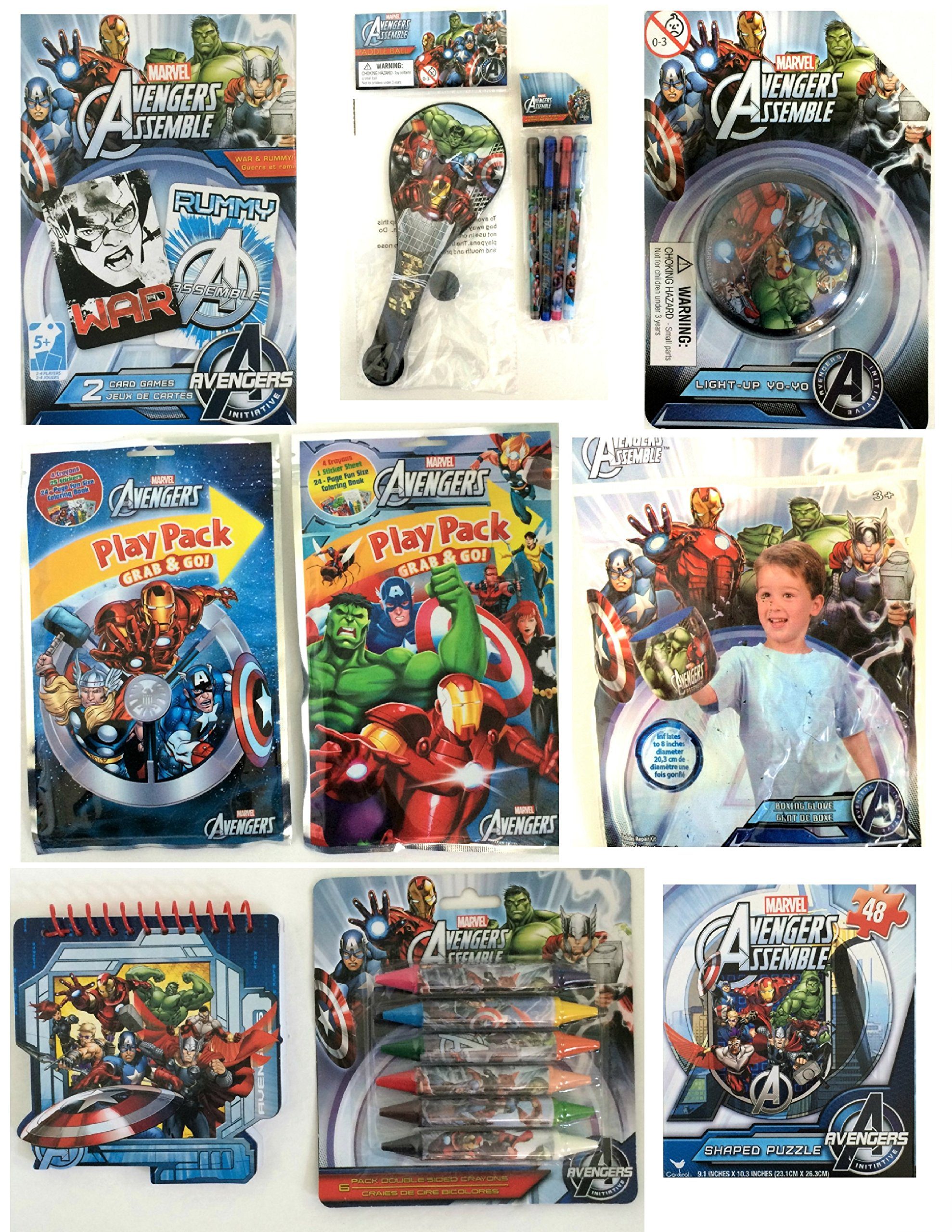 Marvel Avengers Assemble Bundle Easter Basket Fillers - Puzzle, 2 Play Packs, Two Card Games, Crayons,Yo-Yo, Markers, Memo Pad,Inflatable Boxing Glove, Pencils