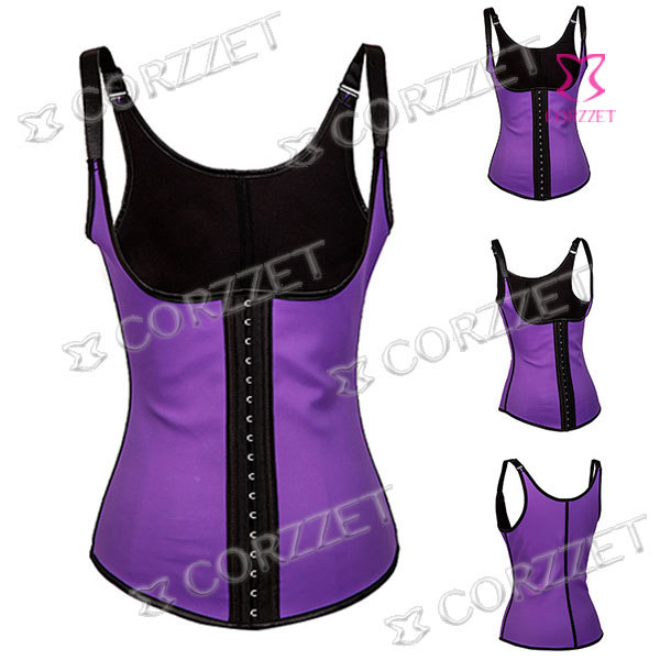 b03fbc242be Get Quotations · 2010 Latex Waist Training Corsets For Sales Women  Underbust Purple Corset Tops with Straps Steel Bone