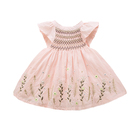 Wholesale Flare Sleeve Pink Girl Hand-made Embroidery Kids Smocking Dress