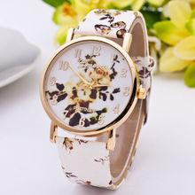 New Arrival Fashion Brand Exquisite Flower Dial Watch Women Geneva Wristwatches Leather Strap Casual Watch Analog Quartz Watch