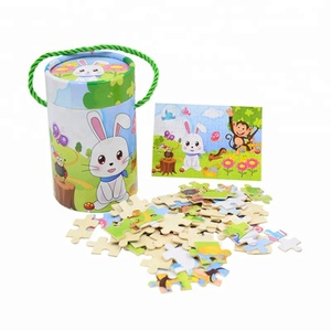 wood cartoon animal Educational DIY kids puzzle jigsaw toy