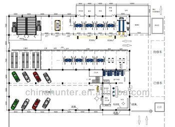 1000m2 Workshop Design One Stop Service Car Equipment