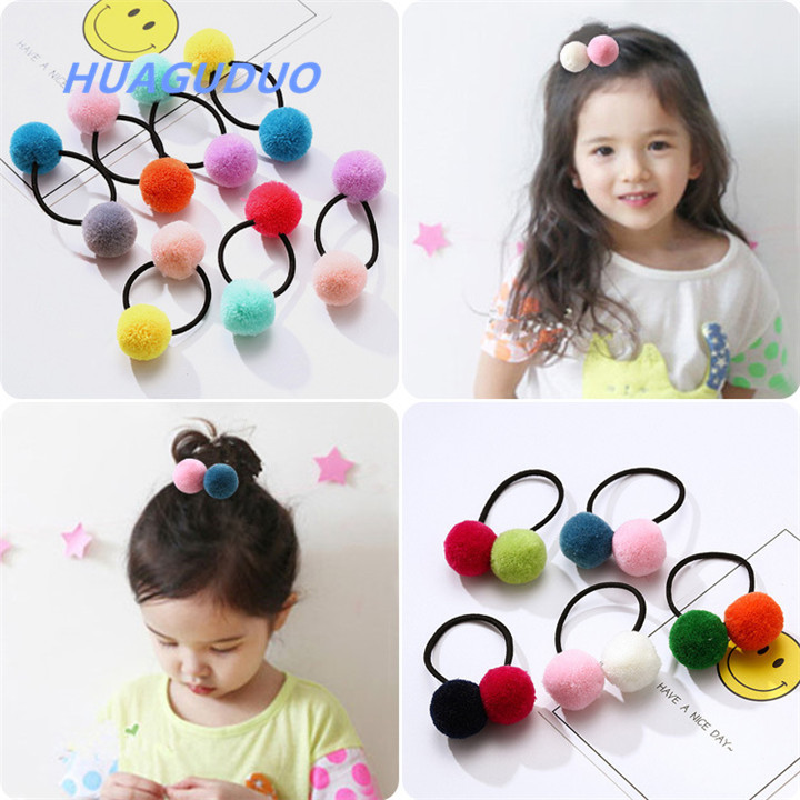 Thailand best selling baby girl <strong>hair</strong> <strong>accessories</strong> Multicolor plush pom pom ball design fancy hairbands girls <strong>hair</strong> rubber band
