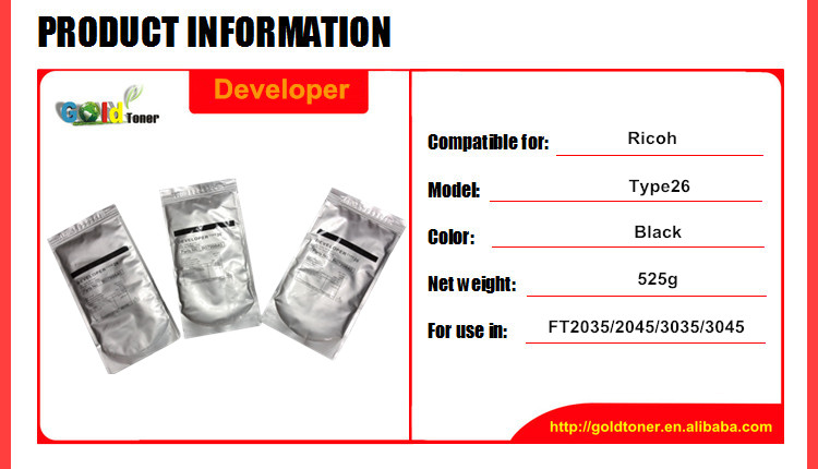 Type 26 developer for FT2035 2045 3035 3045 for Ricoh