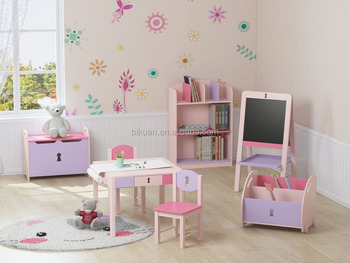 Modern daycare kids cartoon bedroom furniture set with table and chair andtoy box and bookcase - Modern daycare furniture ...