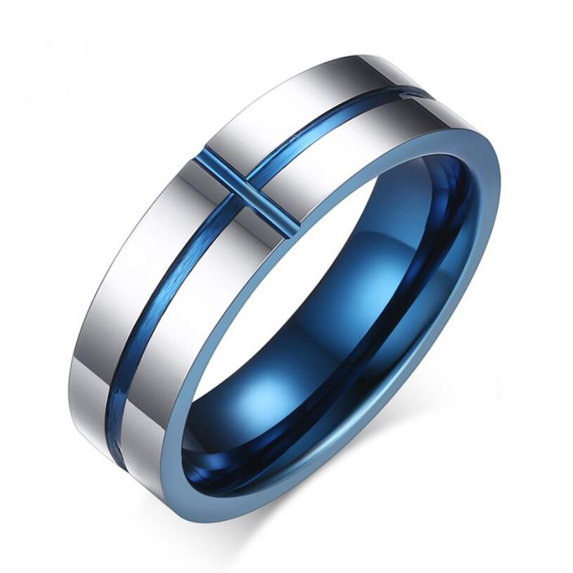 Blue Cross Shape Wedding Rings For Men Jewelry Engagement Ring Wedding Bands 6mm wide US size 6-11 фото