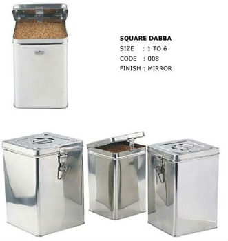 stainless steel square canisters dabba with hinges for