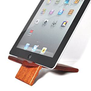 SunSmart Natural wood Bamboo hard Panel stand for iPhone,iPad,SamSung mobile phone,Tablet PCs, eReaders, Artwork and more (sapele I)