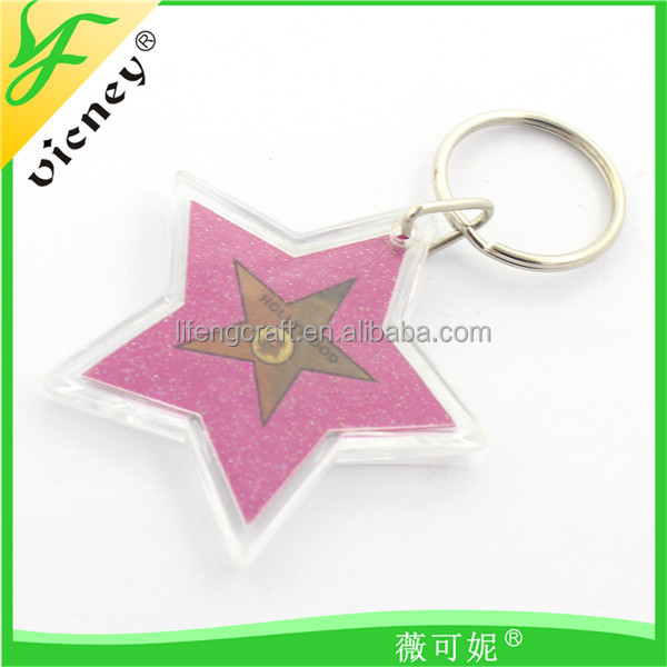 Hollywood Design Start Shape Pink Clear Plastic Cheap Custom Photo Acrylic Keychains