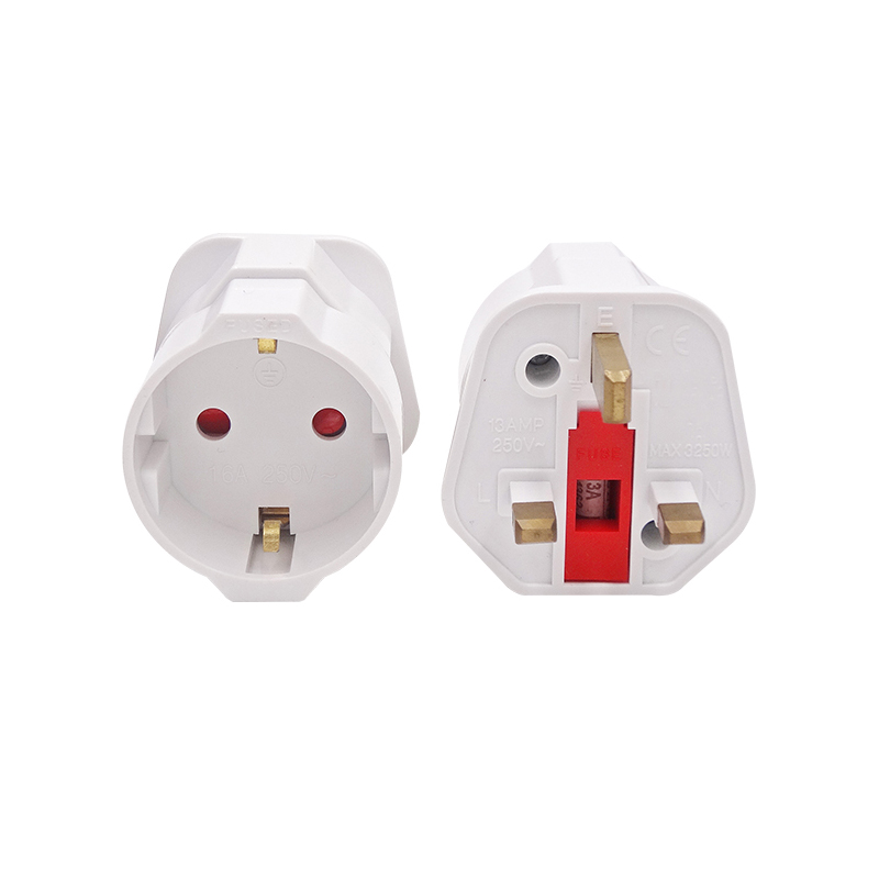 Schuko Style Socket EU Europe European 2-Pin to UK 3-Pin Travel Adapter Plug