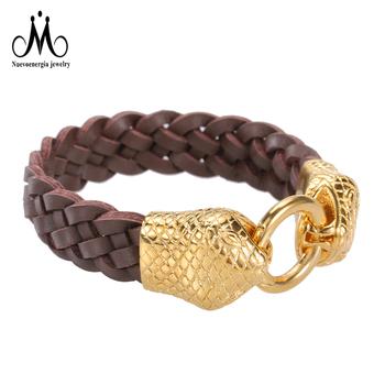 sélection premium d13b8 da639 Grand Plaqué Or Tête De Serpent Medusa Fermoir Hommes En Cuir Tissé  Bracelet Marron - Buy Bracelet En Cuir Doré,Bracelet Homme Fermoir ...