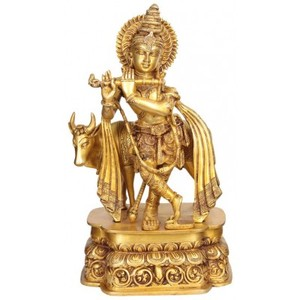 China wholesaler brass krishna statue for sale