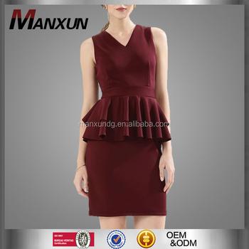 516f9080f0b V Neck Two Pieces Dress Suit Brick Red Bandage Suit Uniform Dress Office Wear  Ladies Semi