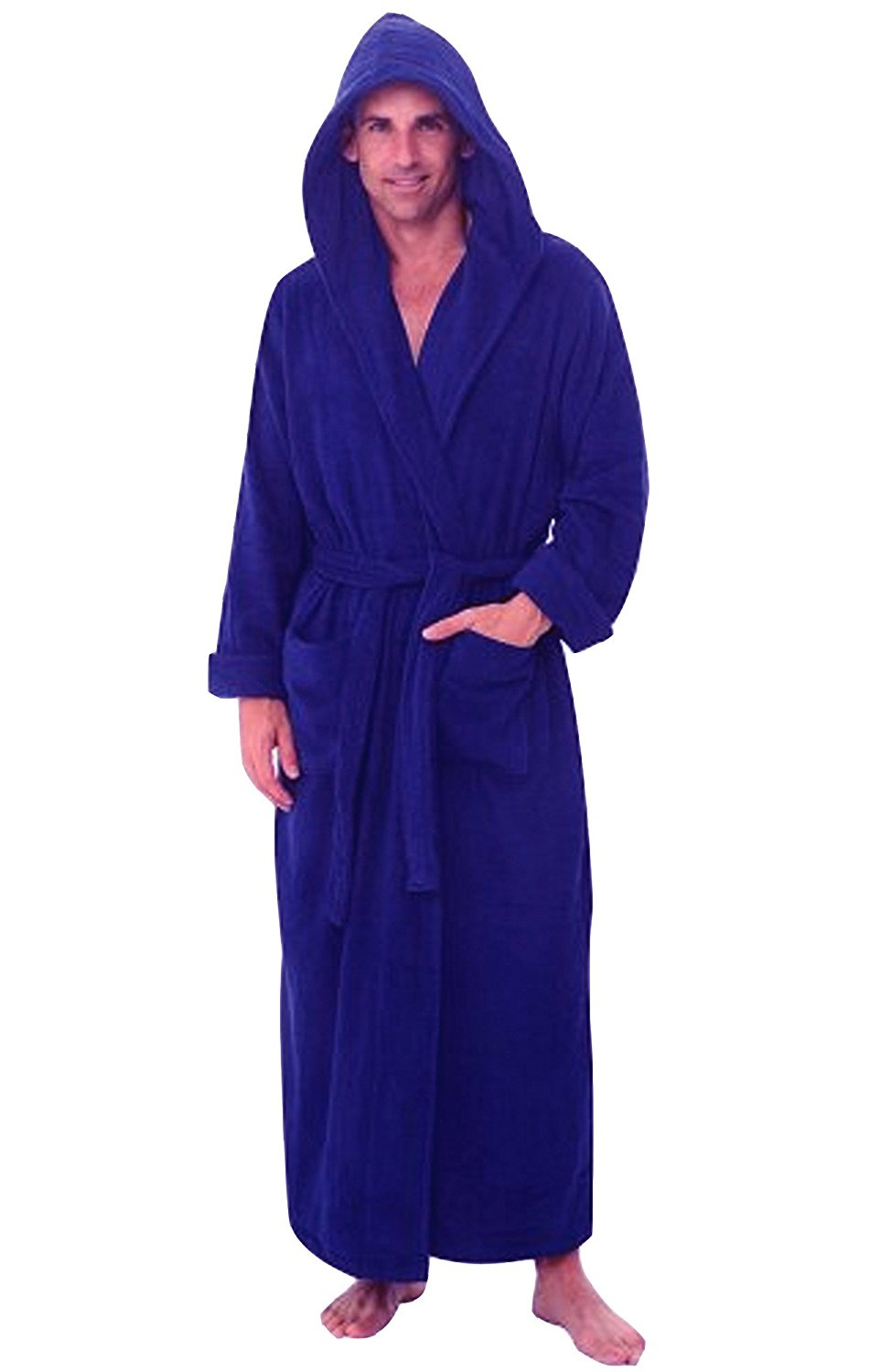 Get Quotations · Royal Blue Hooded Terry Bathrobe 100% Cotton 50 Inches Long c1135c32c
