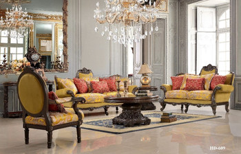 Luxurious Victorian Style Beige upholstered Living Room Sofa Set ...
