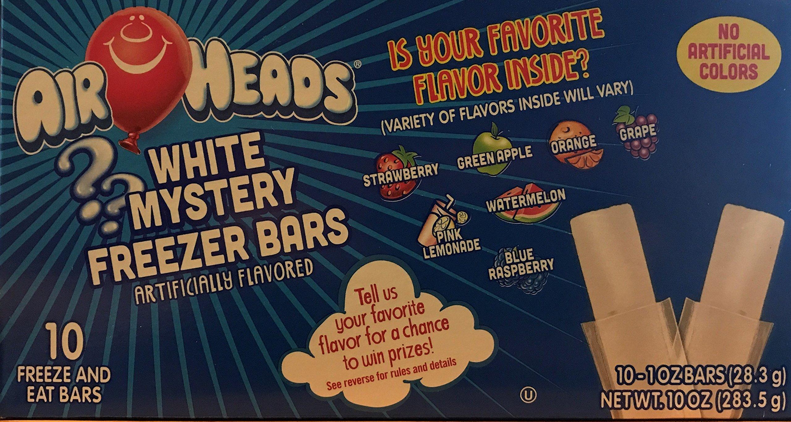 Air Heads White Mystery Freezer Bars! Strawberry! Greenapple! Orange! Grape! Pink Lemonade! Watermelon! Blue Raspberry! 10-1oz Bars!