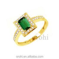 radiant cut gemstone ring,10 karat yellow gold ring,pave setting ring,green topaz ring-HG24-GT