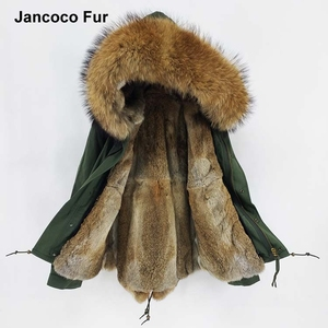 Women Real Rabbit Fur Lined Parka with Real Raccoon Fur Collar Jacket Short Style Parker