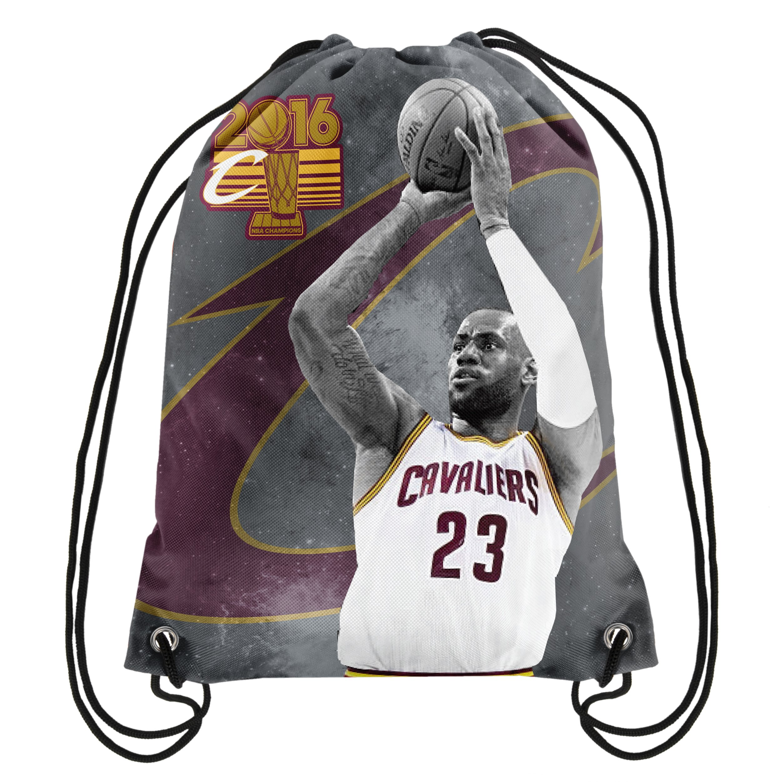 db46b91cac23 Get Quotations · Cleveland Cavaliers 2016 NBA Champions Player Image  Drawstring Backpack Gym Bag - Lebron James
