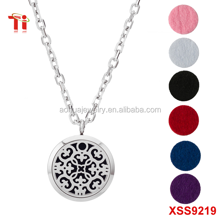 Round Silver 316LStainless Steel Aromatherapy Essential Oils Diffuser Perfume Locket pendant necklace for women
