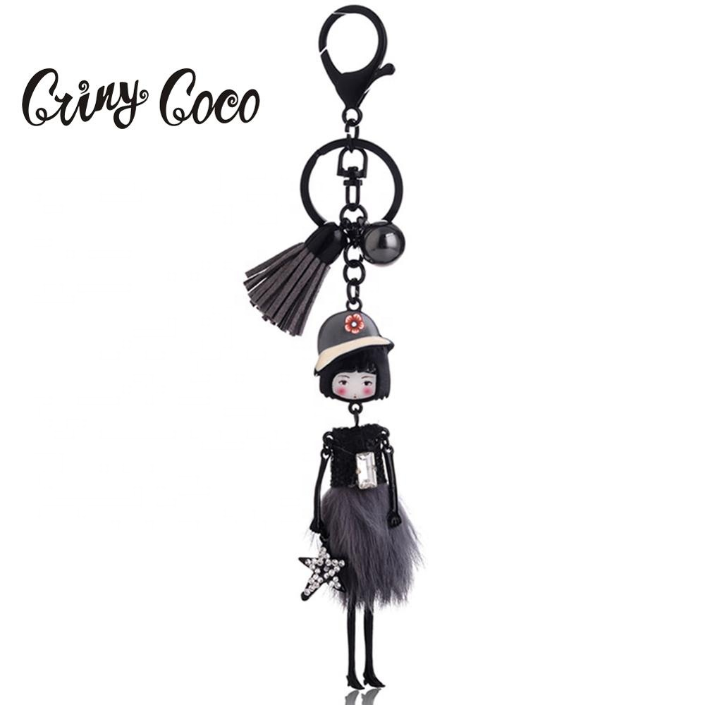 Cring Coco <strong>Cute</strong> Cartoon Girl Keychain <strong>Gifts</strong> for Women Girls Bag Doll Pendant Keyrings Figure Charms Key Chains Jewelry 2019 Hot