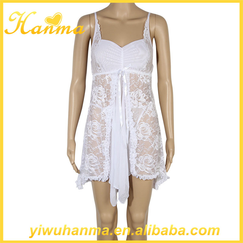 Two-piece white lingerie transparent lace underwear women night gown
