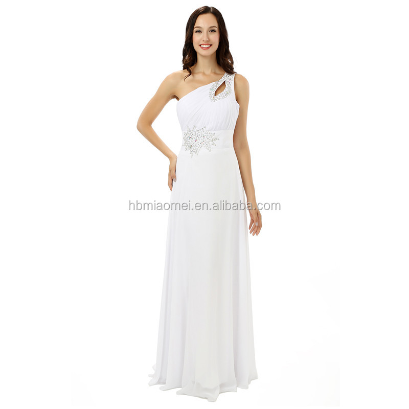 2017 new arrival women white color evening dress long design one shoulder beaded chiffon evening dress