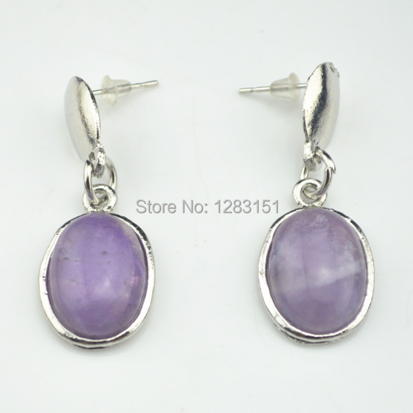 E82 (Min Order $5)Drop Dangle Earring 11g/Pair Tiger Amethyst Stone Earring Vintage Look Tibetan Alloy Antique Silver Jewelry