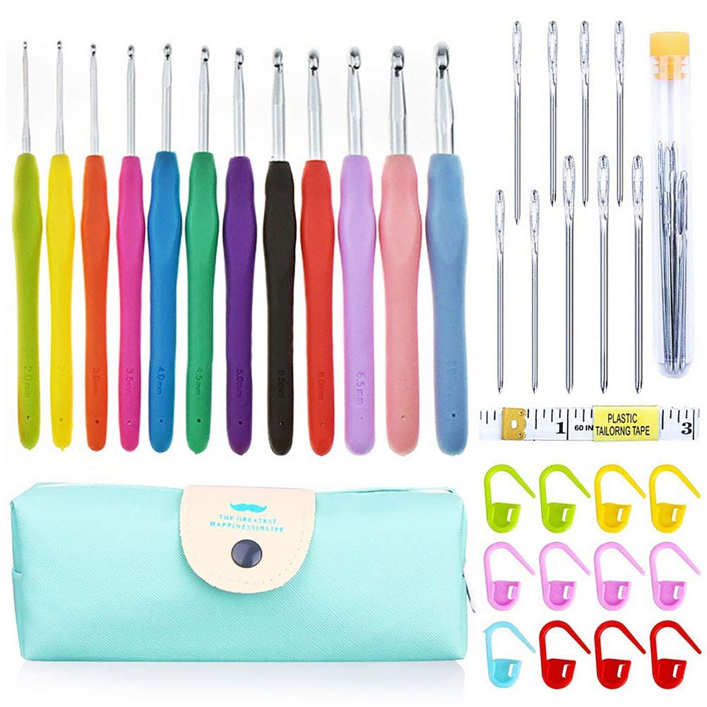 25PCs/Set Crochet Hook Set Large Eye Blunt Needles for Knitting Accessories Tools with Case,Ergonomic Soft Grip Handles for Beginners(12 Colors)