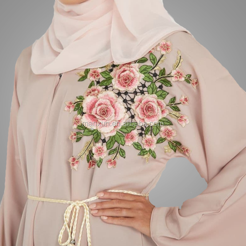2019 Abaya Dubai Kaftan Arab Islam Women Long Floral Muslim Kimono Cardigan Dress Turkish Elbise Mubarak Islamic Clothing