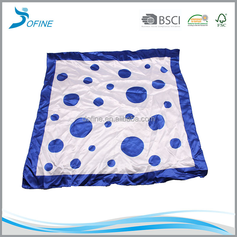 Promotional polka dot printed own design polyester silk satin square scarf