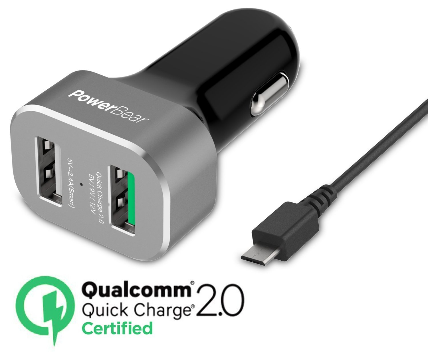 PowerBear Dual Port Quick Charge 2.0 Car Charger | Upgraded Version 2-Port USB Car Charger Dual-USB Ultra Fast Car Charger USB [Qualcomm 2.0 Certified] - Black [24 Month Warranty]